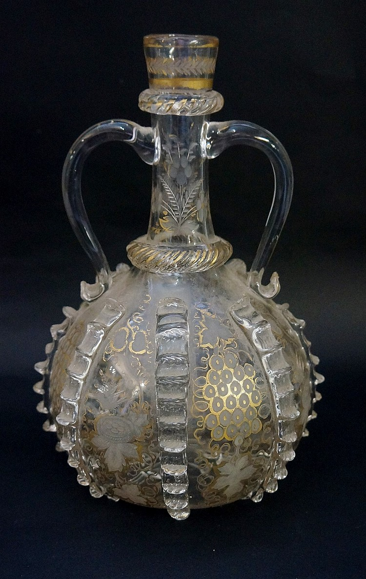 A 19th Century copy of an 18th Century German two handled decanter, gilded