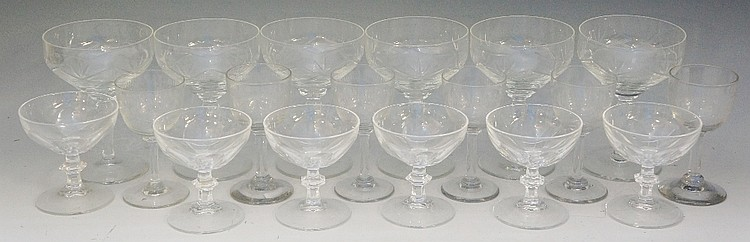 A collection of clear glass to include: a set of six Sheila pattern glasses