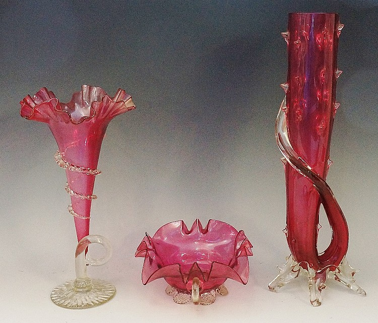 A selection of 19th Century cranberry glass vases, to include: a hunting ho