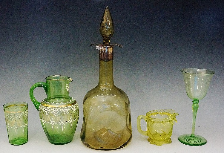 A selection of Victorian and Edwardian green glass to include: a small gree