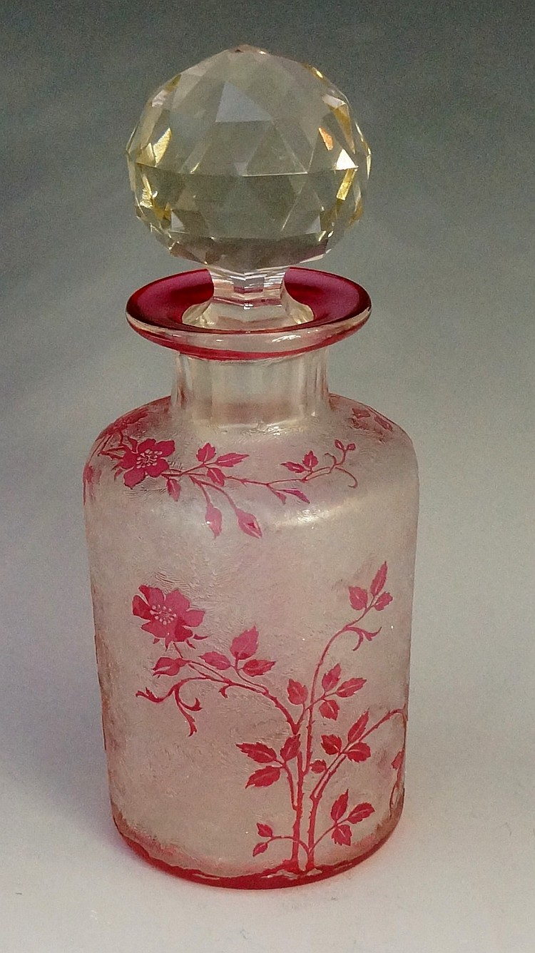 Baccarat - A large perfume bottle cameo cut with pink roses and briars, sli