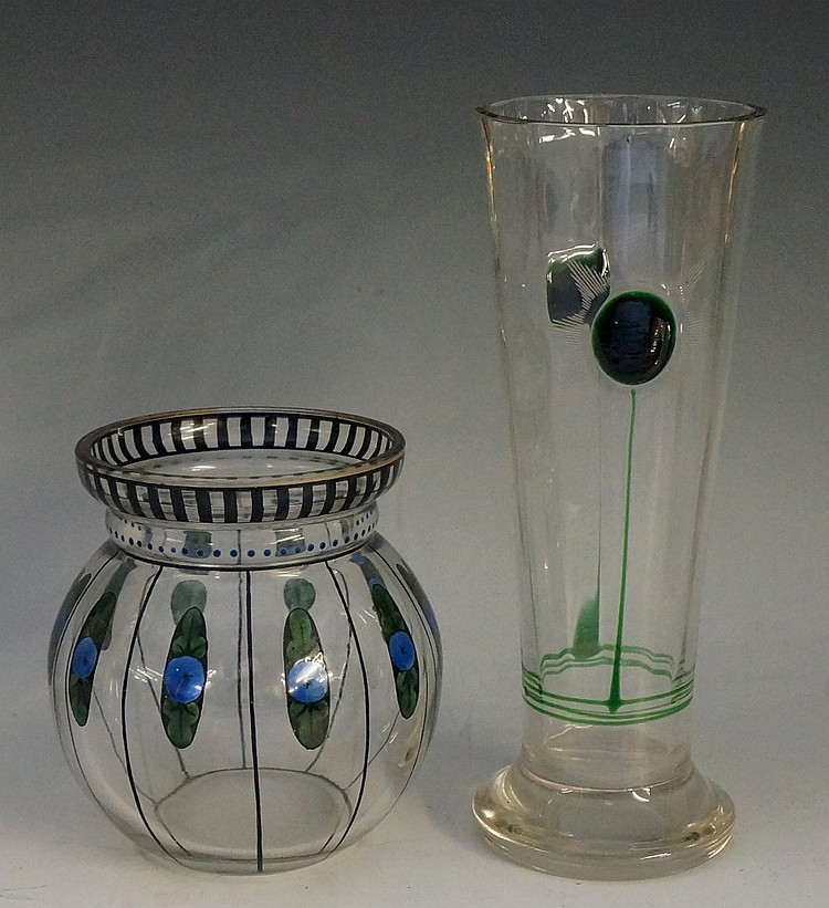 An Art Nouveau Bohemian glass compressed ovoid vase, decorated in enamel pa