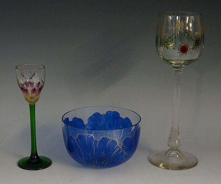 An Art Nouveau Austrian wine glass in the manner of Theresienthal, with gre