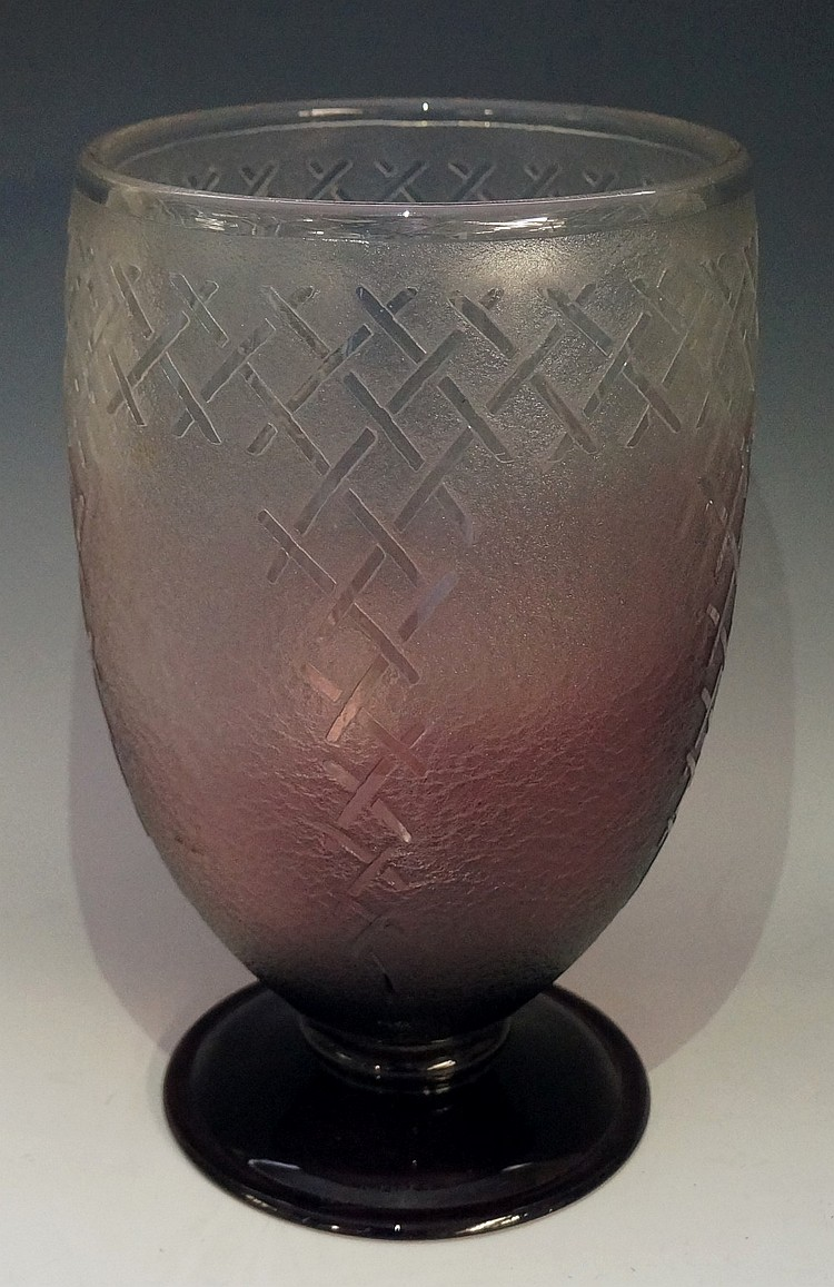 A large French Art Deco Schneider tinted mauve footed glass vase, geometric
