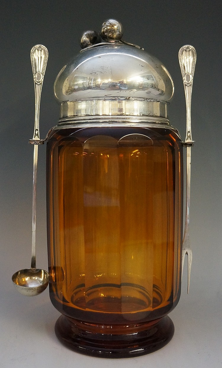 An early 20th century Josef Hoffman for Moser amber panel cut glass 'Kirche