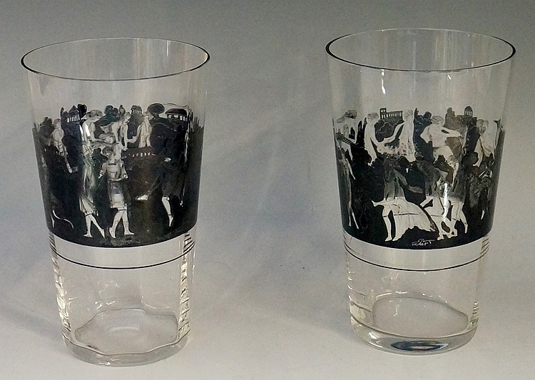 A pair of Art Nouveau Vedart Italian glass water tumblers, decorated in ena