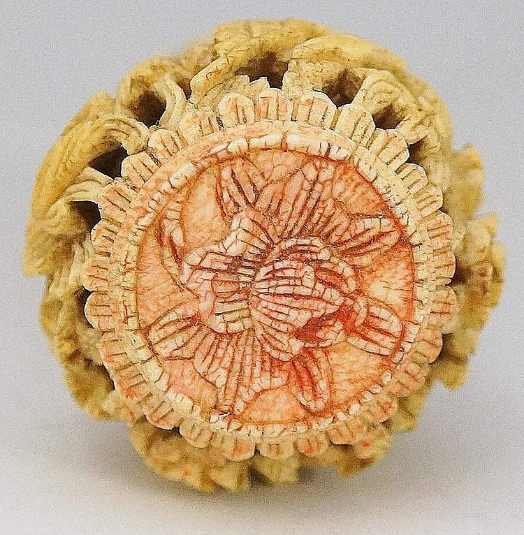 A th century turned ivory novelty of gourd shape relief c