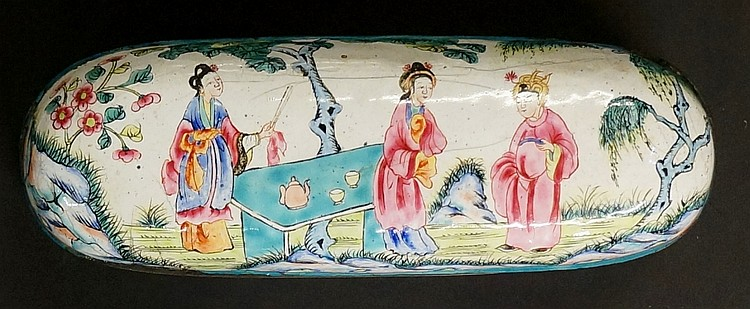 An 18th Century Chinese enamel oval box and cover, the lid decorated with f