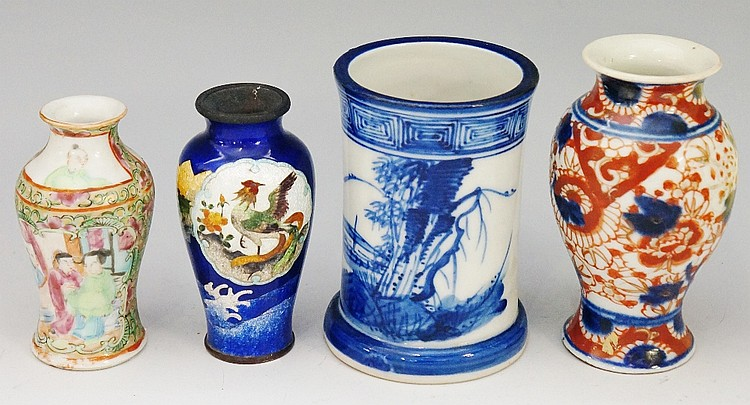 A Chinese miniature famille vert baluster vase, decorated with panels of fi