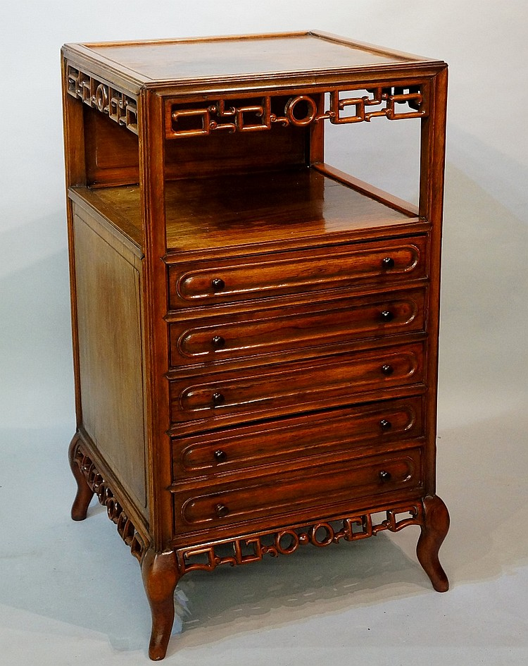 A Chinese hardwood chest of drawers, the panelled square top above a frieze