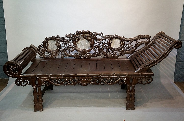 An unusual Chinese hardwood long bench, the back carved bamboo branches, fr
