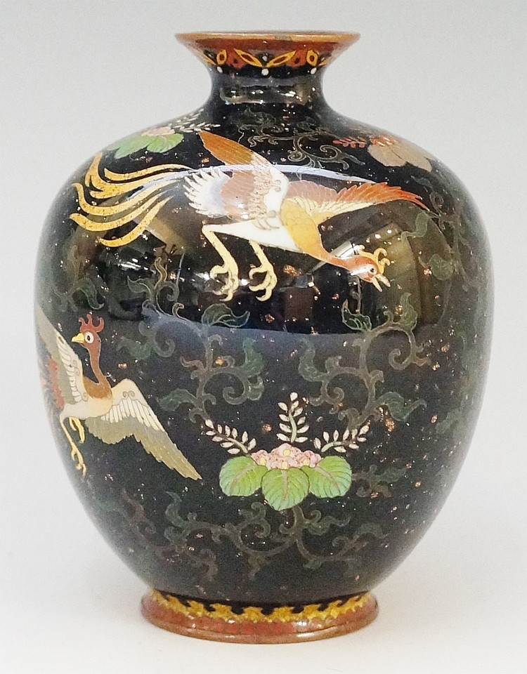 A Japanese cloisonne enamel globular vase with shallow everted neck, the sp