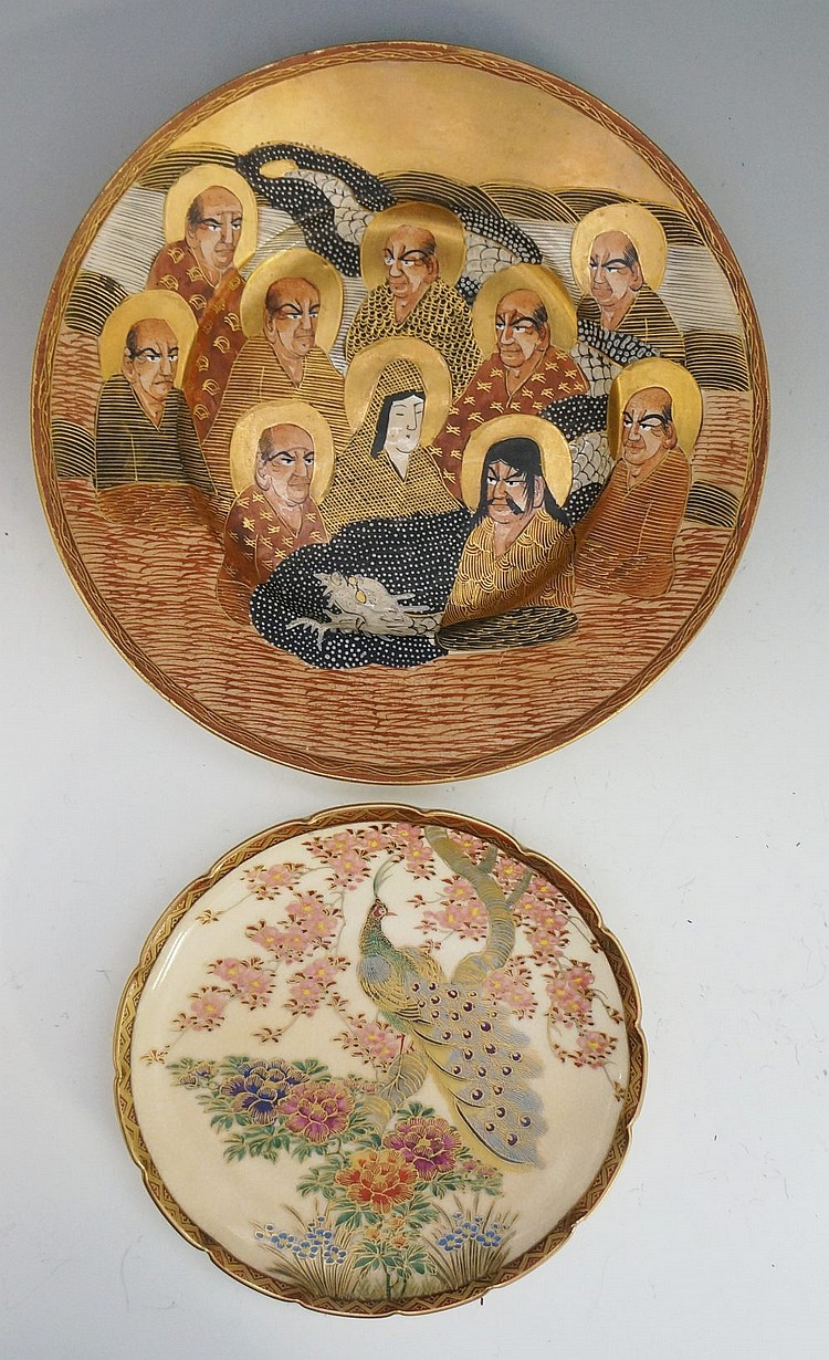 A Japanese Satsuma pottery plate decorated with The Ten Immortals and white