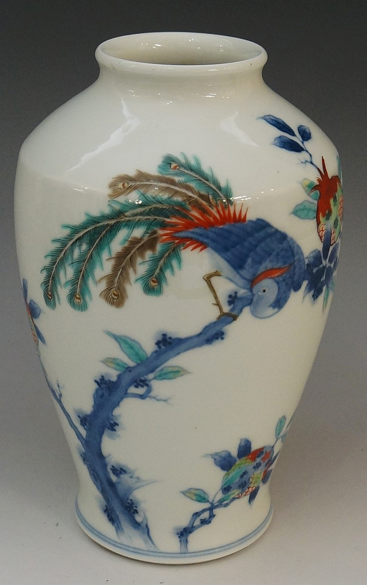 A Japanese baluster vase with shallow neck, the body finely painted with a