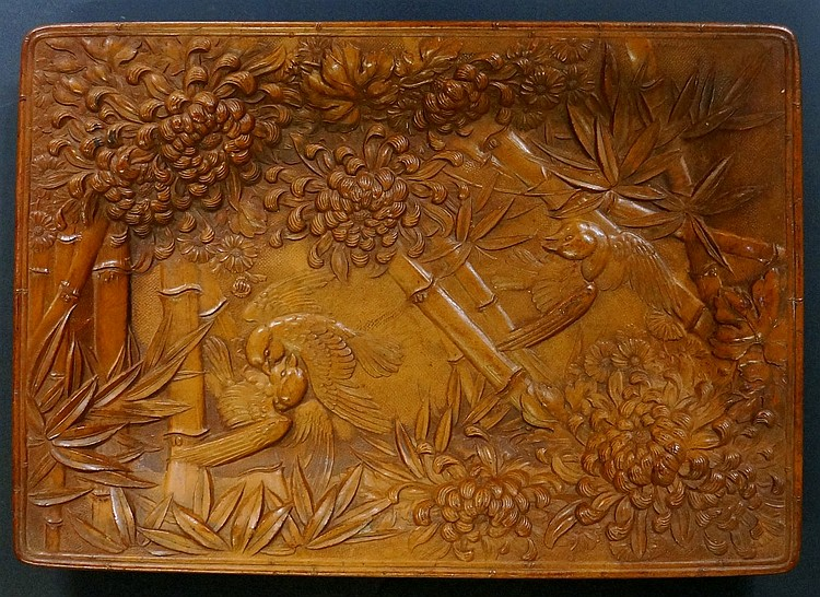 A good Japanese pressed wood tray of rectangular outline, the base with chr