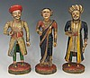 Three 19th Century Indian carved wooden figures, polychrome decorated, two