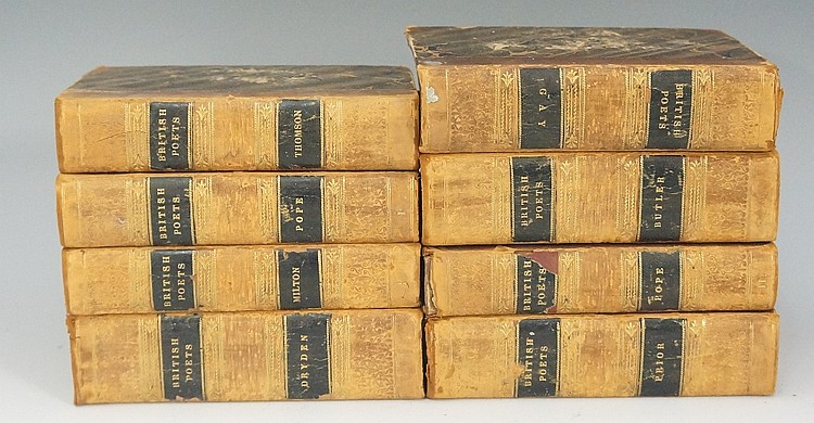A collection of eight volumes from Bell's Edition of The Poets of Great Bri