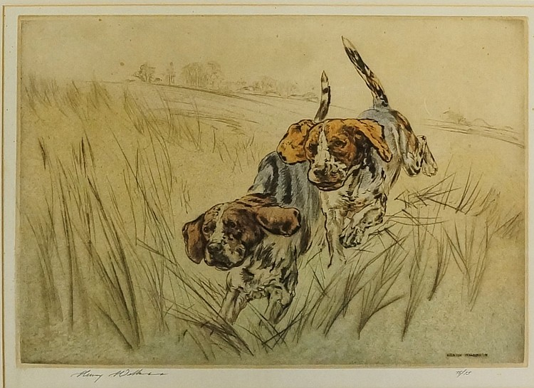 Henry Wilkinson - pair of bounding gun dogs, coloured etching, signed in pe