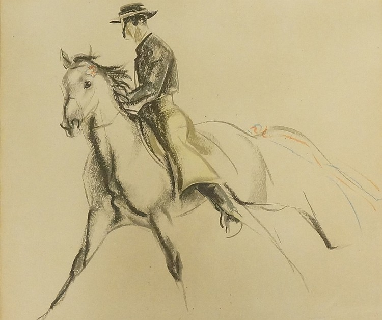 John Skeaping - print of horse and rider, inscribed with signature John Ske