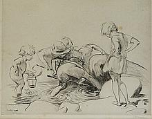 J H Dowd  - Crabbing, with six children hunting beneath a rock on the seash