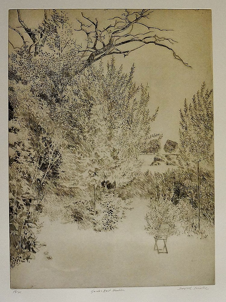 David Tindle - Garden, East Haddon, etching on buff paper, numbered 15/75,