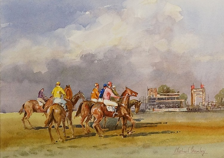 Michael Crawley - The Line Up, Newmarket, watercolour, signed lower right,
