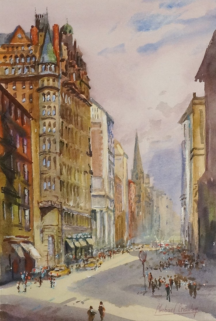Michael Crawley - Fifth Avenue, New York, watercolour, signed lower right,