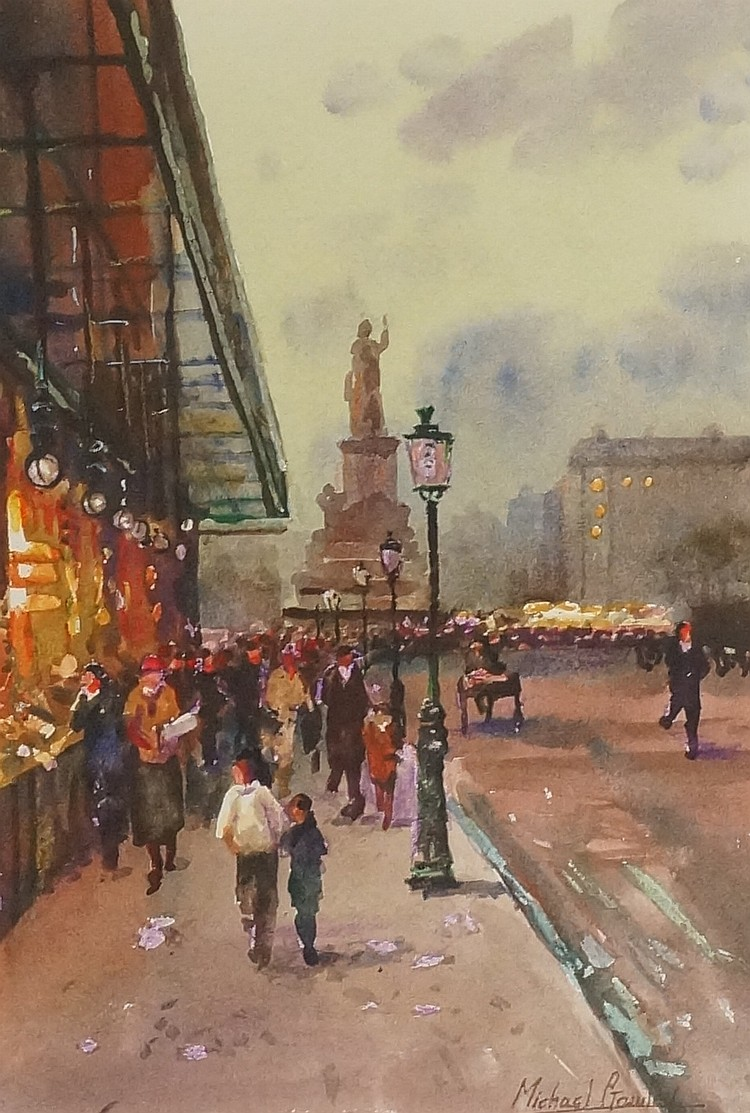 Michael Crawley - Paris Evening, watercolour, signed lower right, 28cm x 20