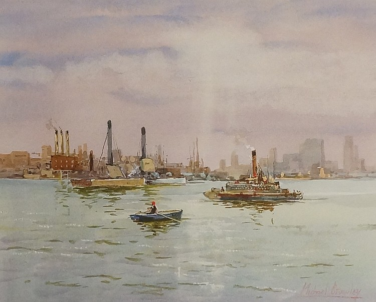 Michael Crawley - The East River, New York, watercolour, signed in crayon l