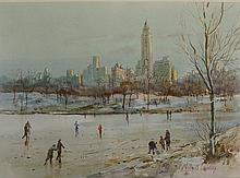 Michael Crawley - Winter, Central Park, New York, watercolour, signed in cr
