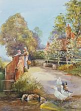 Michael Crawley - figures on a bridge with cottage in the background, ducks