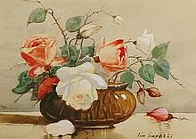 Tom Campbell - still life of roses in a brown glass vase, watercolour heigh