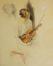 English School, early 20th Century - watercolour of a seated female viola p