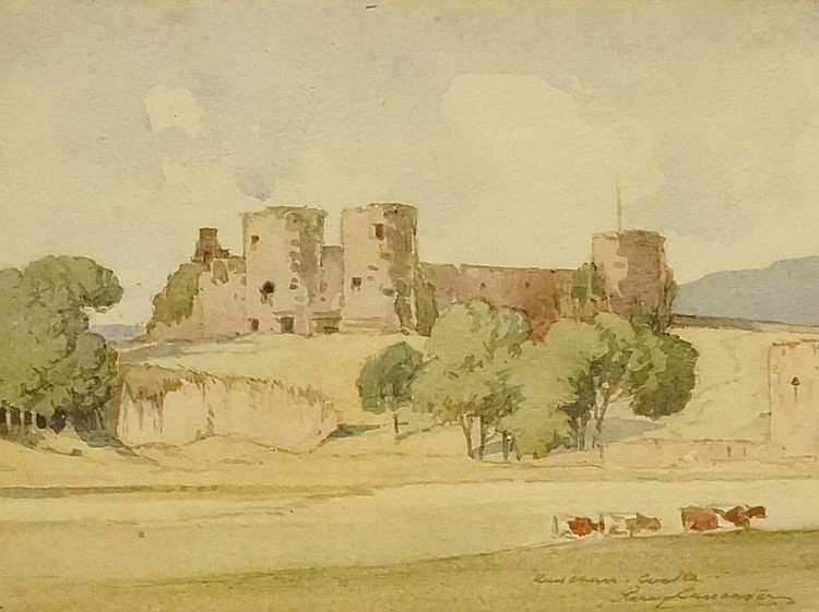 Percy Lancaster - Castle with Cattle, a summer landscape, watercolour, sign