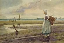 Titan Mitchell - Dutch fisher girl with sailing skiffs and fisher women bey
