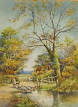 F W Kirkham - Driving Sheep with girl and cottages beyond, an autumn landsc