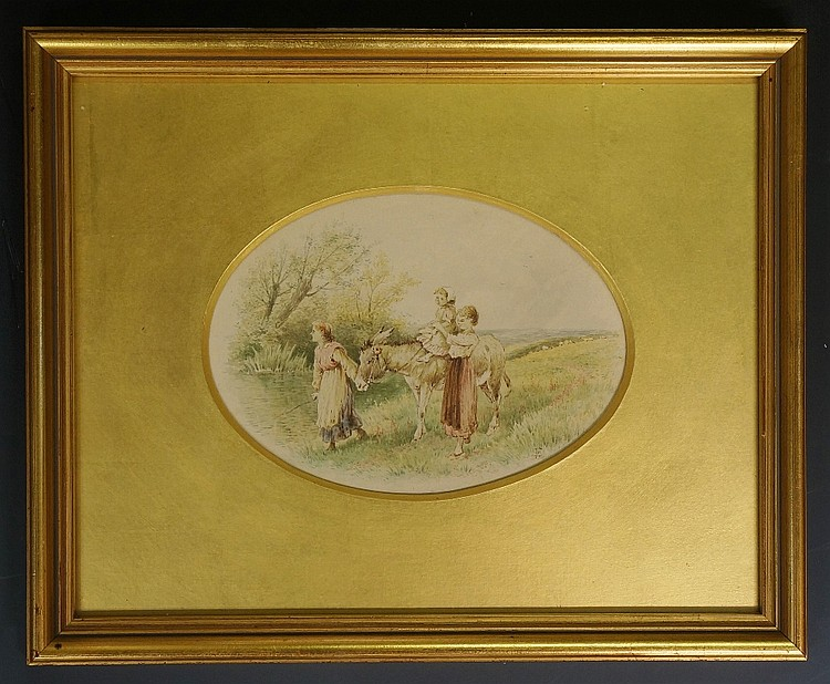 Birket Foster - children leading a donkey with younger child on its back, a
