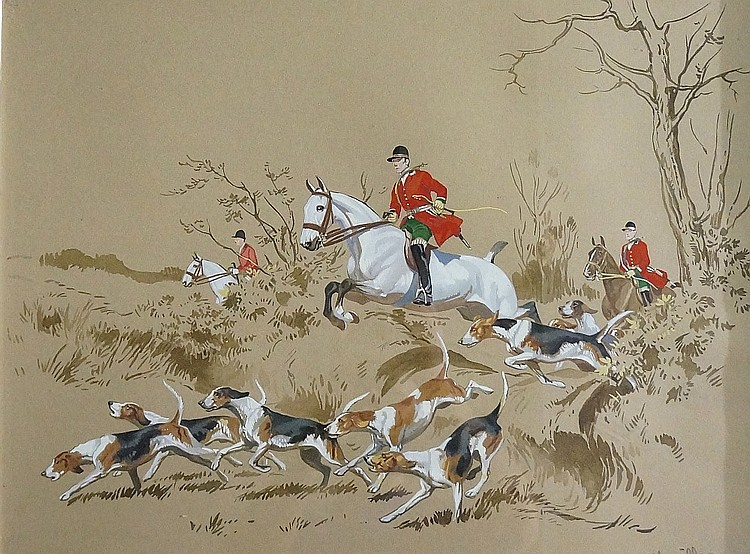 French School, late 19th / early 20th Century - hunting scene with horses t