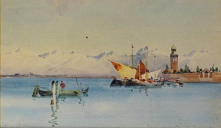 B. Alistair McDonald - Sunshine and Snow Fondamenta Nuove, Venice, watercol