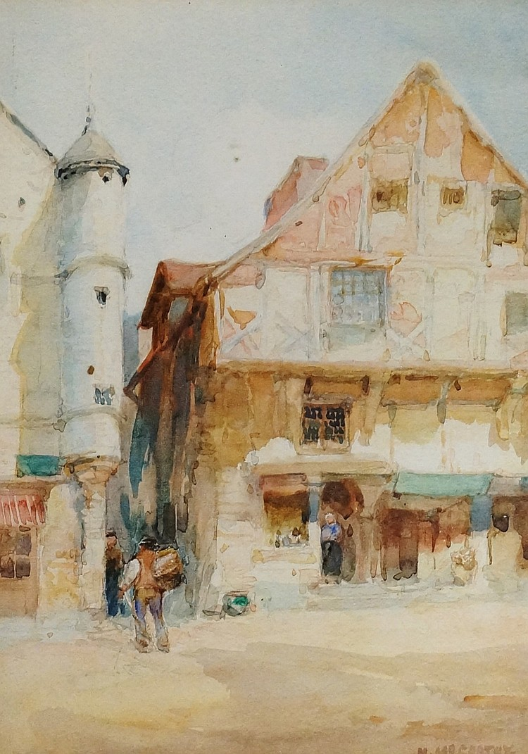M McCarthy - continental town scene with figures, watercolour, signed, 26cm
