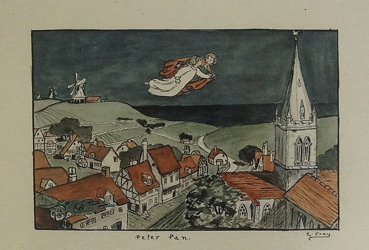 G. Fray - Peter Pan, watercolour and pen and ink, inscribed Peter Pan and s