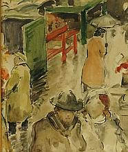 French School, 19th Century - figures in a market, a rainy day, watercolour