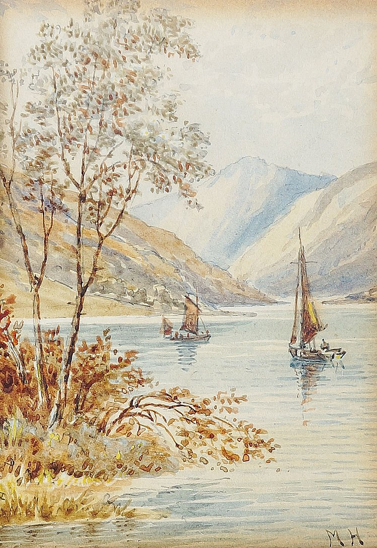 English School, late 19th / early 20th Century - a set of three lake scenes