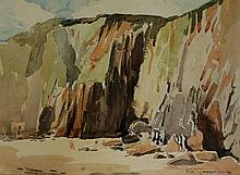 Reg Gammon - beach scene with cliffs, watercolour, signed in pencil lower r