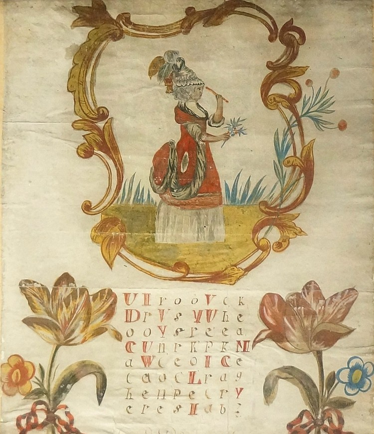 An 18th Century Dutch sampler style watercolour of a female holding a branc