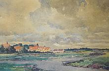 Rev Arthur Bernard Bateman (1883-1970) - Norfolk landscape with houses and