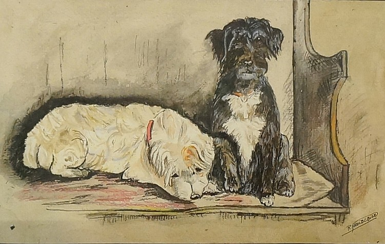 R. Froidebise - a pair, two dogs on leads and two dogs seated on a bench, w