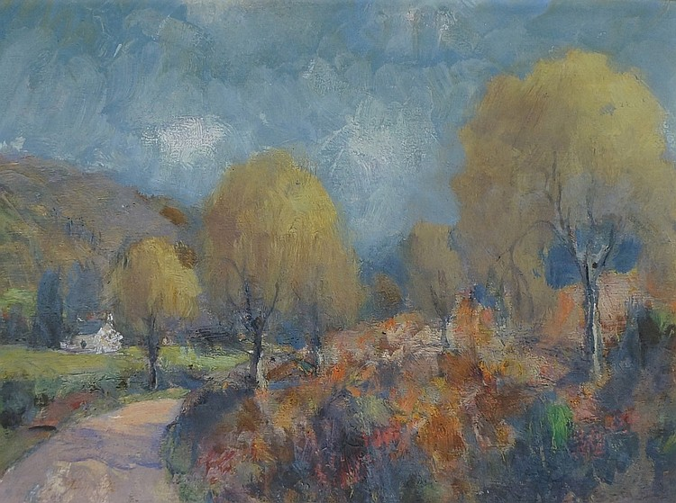 David Russell Anderson (British 1884-1973) - Autumn, Circa 1932, oil on art