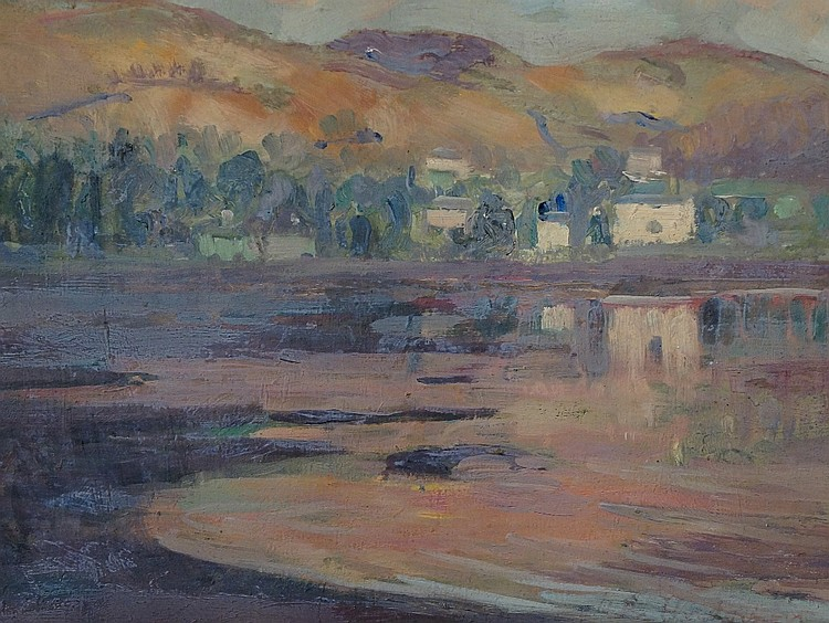 David Russell Anderson (British 1884-1973) - Sunset on Gareloch Head, oil o