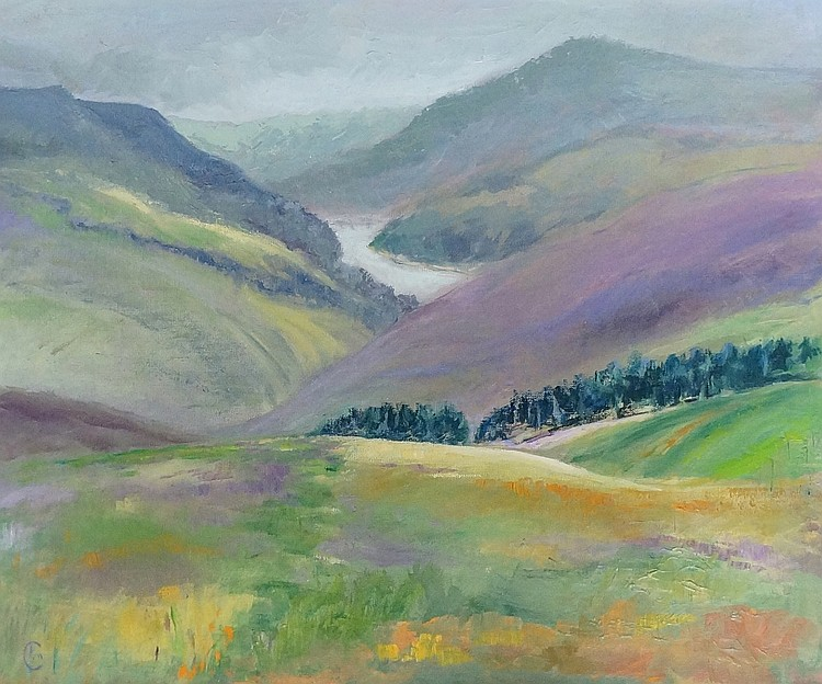 Derwent Water from The Grouse Moor, oil on artist board, monogrammed lower